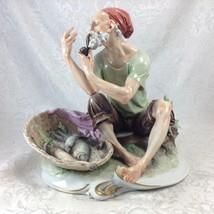 Giuseppe Cappe Capodimonte Smoking Fisherman Ceramic Figurine T.K.C. Italy - $699.37