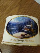 """2004  Thomas Kinkade """"Sunday Evening Sleigh Ride"""" Votive Tea Light Candle Holder image 2"""