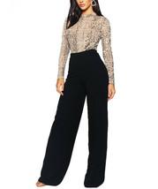 Women's Boo Hoo High Waist Casual Basic Crepe Black Wide Leg Pants (Black, 12)