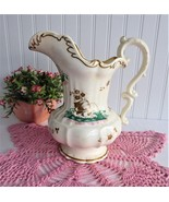 Victorian Copy French Porcelain Pitcher Fancy Large 1890s Gold Tulips - $48.00