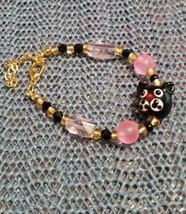 Black Cat  Kitty Glass  bracelet 7 1/2  inch Gold Plate w/gold seed beads - $6.93