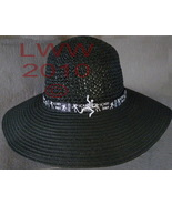 NEW Gothic Black Ladies Floppy Straw Sun Hat With Skeleton D - $19.99
