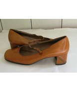 Nine West Harvest Gold Leather Mary Jane Pump Chunk Heels sz.6M  - $18.88