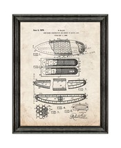 Surfboard Patent Print Old Look with Black Wood Frame - $24.95+