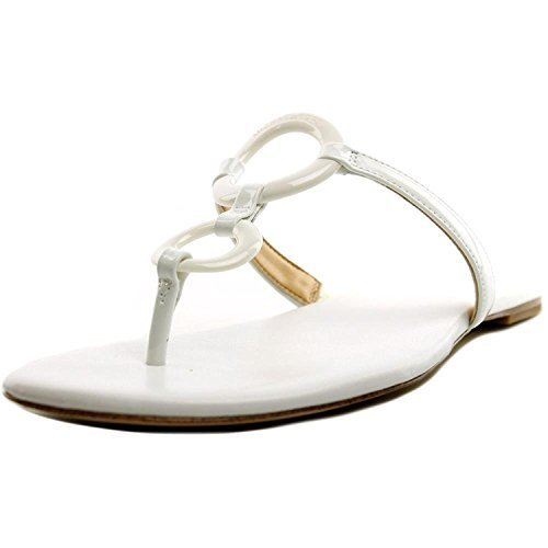 MICHAEL Michael Kors Women's Claudia Flat Sandal Optic White Patent Sandal 7.5 M
