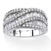 PalmBeach Jewelry 3.10 TCW CZ Crossover Ring in Platinum over .925 Silver - $34.89