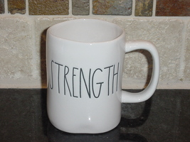 Rae Dunn STRENGTH Rustic Mug, Ivory with Black Letters, New! - $13.00