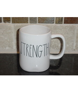 Rae Dunn STRENGTH Rustic Mug, Ivory with Black Letters, New! - $12.00