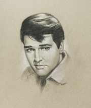 Elvis Presley Portrait Original Charcoal Drawing Unframed Signed Talbot - $55.00