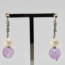 EARRINGS SILVER 925 RHODIUM HANGING ZIRCON CUBIC PEARLS AND AMETHYST image 1