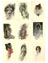Digital Clip Art Printable Vintage Harrison Fisher Collage Sheet  2.5 x ... - $2.50