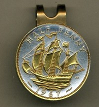 "British ½ penny ""Sailing ship"" 2-toned Gold on Silver coin golf marker - $66.00"