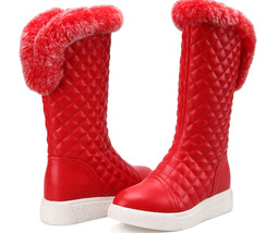 PB151 sweet rabbit hair trim snow boots , US Size 4-9, red - $1.329,86 MXN