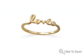 Gold Promise of Love Ring with CZ Accent - $24.99