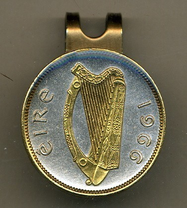 "Irish ½ penny ""Harp"" 2-Toned Gold on Silver Coin Golf Marker"