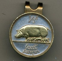 "Irish ½ penny ""Pig & piglets"" 2-Toned Gold on silver  coin golf marker - $58.00"