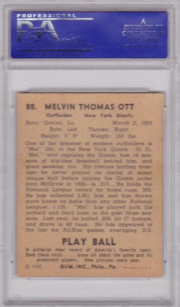 Mel Ott 1940 Play Ball #88 PSA 5 EX