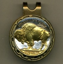 Buffalo nickel (minted 1913 - 1938) 2-Toned Gold on Silver  coin golf m... - $56.00