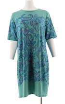 Isaac Mizrahi Choice Print Elbow Slv T-Shirt Dress Aqua Paisley L NEW A3... - $35.62