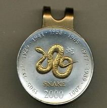Somalia 10 Shillings Year of the Snake 2-Toned Gold on Silver coin golf... - $66.00