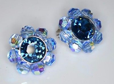 VTG CROWN TRIFARI Silver Tone Blue AB Crystal Rhinestone Clip Earrings