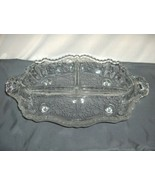Vintage Cambridge Glass Rose Point 3 Part Divided Bowl Dish NICE - $74.25