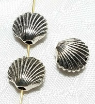 SCALLOP SHELL BEAD 3D FINE PEWTER BEAD 11x12x6mm; HOLE 2mm