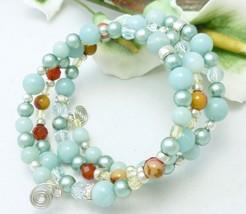 Amazonite carnelian citrine sterling beaded memory wire wrap bracelet  def67b9e 925703 thumb200