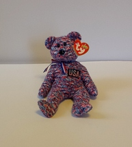 Ty USA Red White & Blue Beanie Baby Bear with Tags Retired  - $13.99