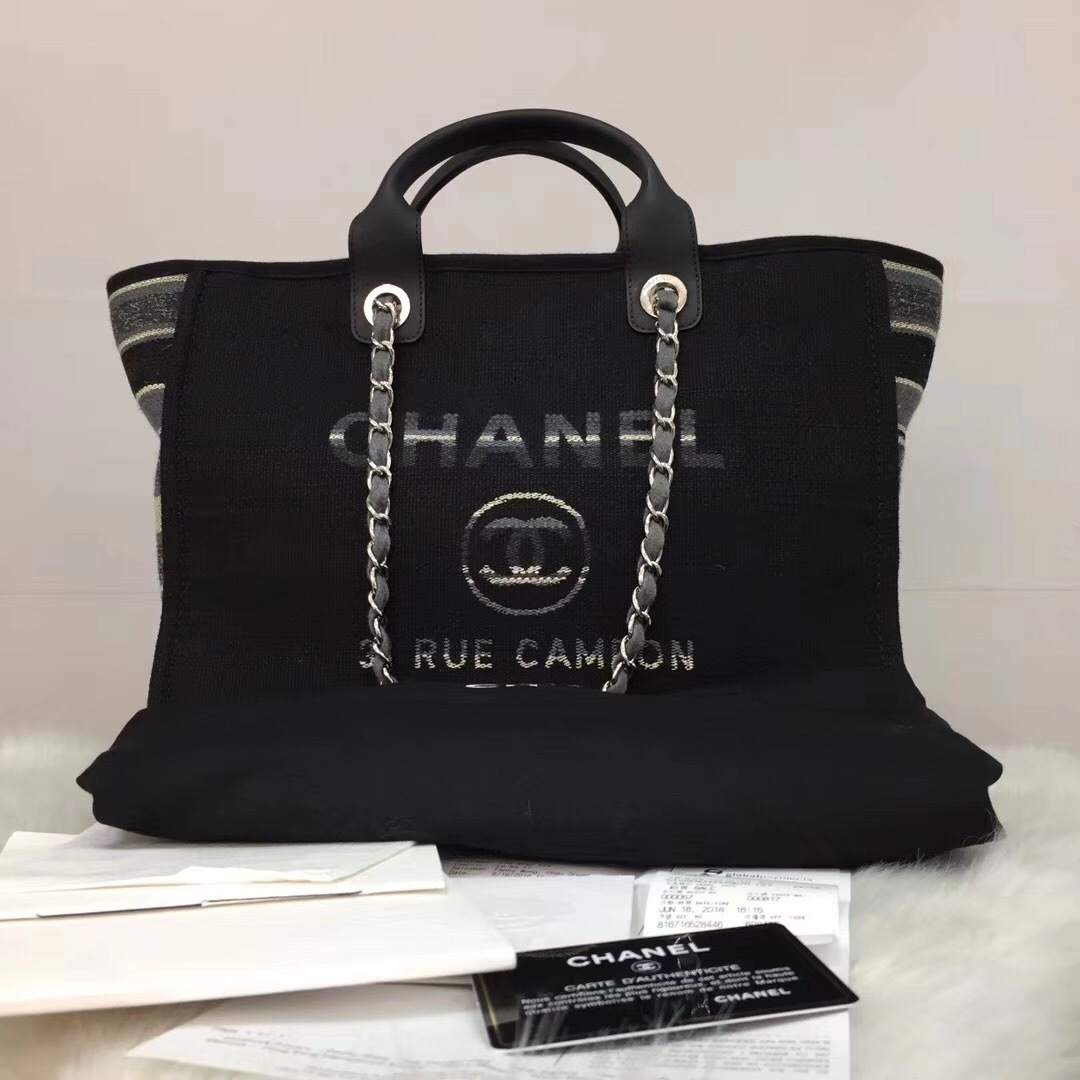 NEW AUTHENTIC CHANEL 2019 BLACK CANVAS STRIPE LARGE DEAUVILLE 2 WAY TOTE BAG