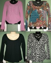 LOT OF FOUR Long Sleeve Soft Knit Tops Size Med - $18.81