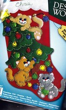 Design Works Decorating Kittens Cats Christmas Holiday Felt Stocking Kit... - $29.95