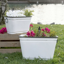 Set of 2 White Metal Bucket Planter with Decorative Faucets Vintage Plan... - $125.95