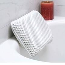 Non-Slip Foam Spa Bath Pillow Featuring 8 Suction Soft Luxurious White - $9.89