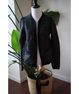 J Crew Honeycomb Sweater Jacket Size S Wool Blend Hook Eye Cardigan Blac... - $27.94