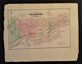 1872 antique hand colored MAP pa WILLIAMSPORT and HARRISBURG county 17.2... - $67.50