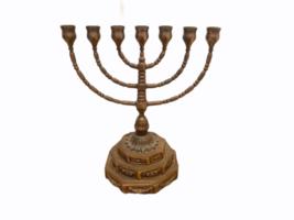 "Vintage 7 Branch Temple Menorah Solid Metal Brass 12"" Jewish Rotating Arms image 1"