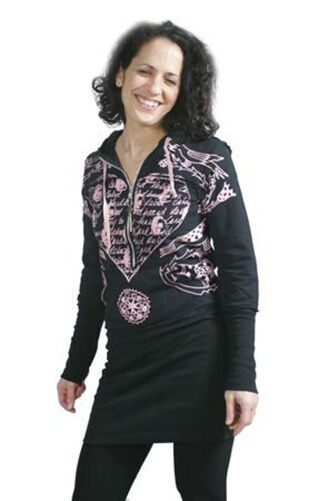 Cardboard Robot Womens Black Pink The Key to my Heart Elongated Hoodie Small NWT