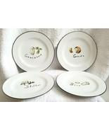 "4 Pottery Barn Porcelain 7.5"" Cheese Plates STILTON GOUDA CAMEMBERT BRIE - $22.00"