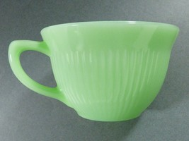 Oven Ware Fire King Jadeite Jane Ray tea cup green ribbed dinnerware signed - $45.54
