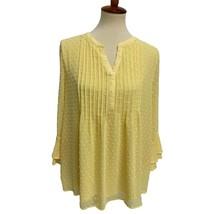 Charter club womens blouse ruffled sleeve yellow size l - $19.15