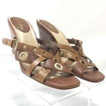 Cole Haan Air Whitney Womens Brown Leather Wood Wedge Sandal Shoe 8B  - $47.52