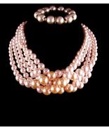 HUGE Vintage Pearl necklace - pearl bracelet - Anniversary gift - mother... - $110.00