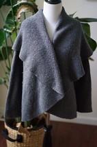 Talbots Merino Wool Silk Gray Open Front Waterfall Sweater Cardigan Size Small - $23.74