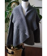 Talbots Merino Wool Silk Gray Open Front Waterfall Sweater Cardigan Size... - $23.74