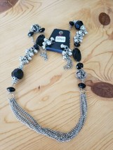 1045 Silver & Black Beads Necklace Set (New) - $7.61