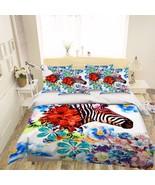 3D Flowers Zebra Bed Pillowcases Quilt Duvet Cover Set Single Queen King... - $64.32+