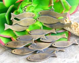 Vintage Jonette JJ Fish School Brooch Pin Earrings Set Figural Bronze - $32.95