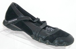 Skechers 'Bikers' step up 21571 strap black suede mary jane casual shoes 8 - £11.51 GBP