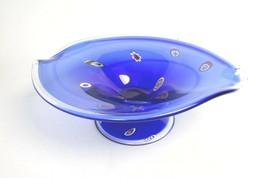 Studio Millefiori Cobalt Centerpiece Bowl Huge 16 Inch Murano Glass - $79.93